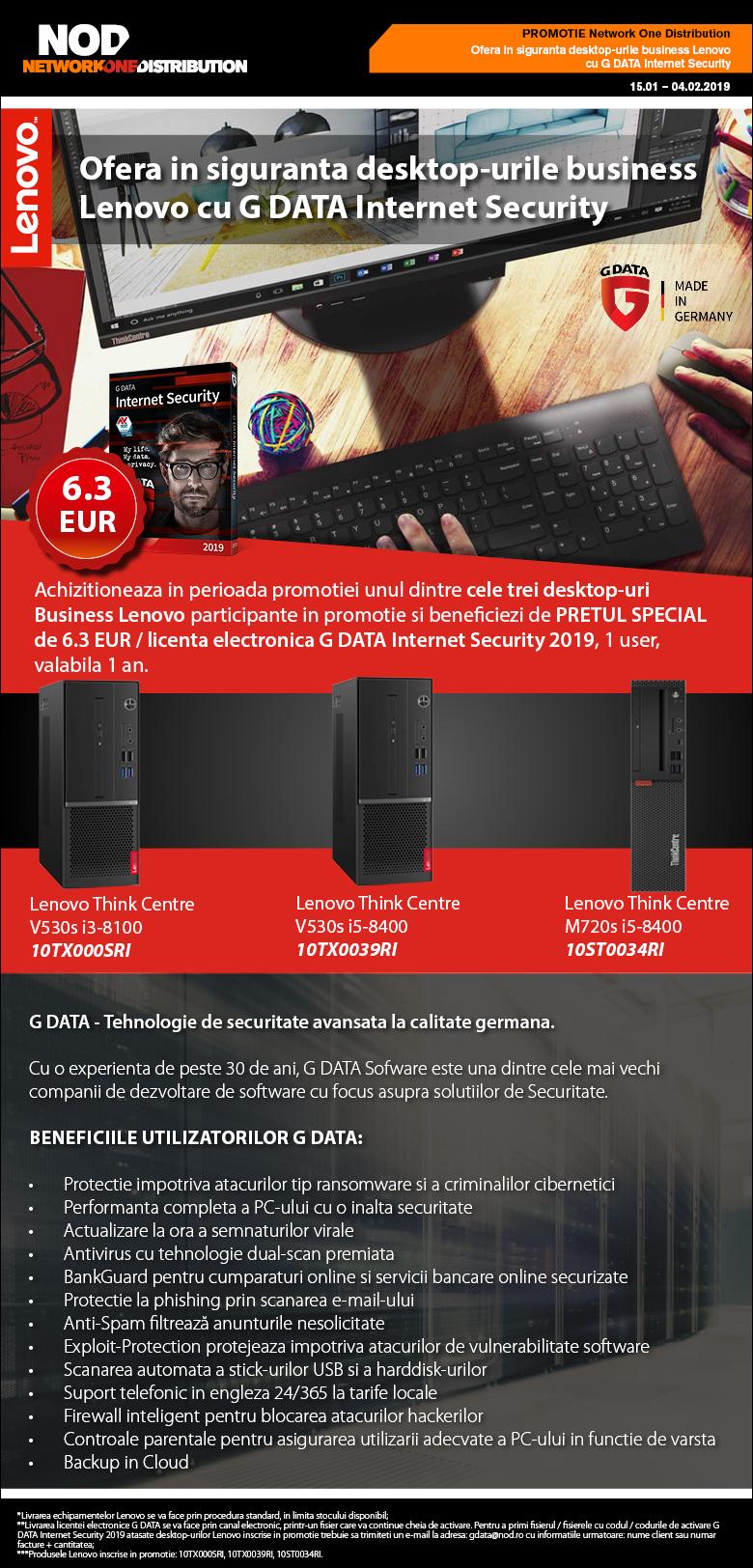 Ofera in siguranta desktop-urile business Lenovo cu G DATA Internet